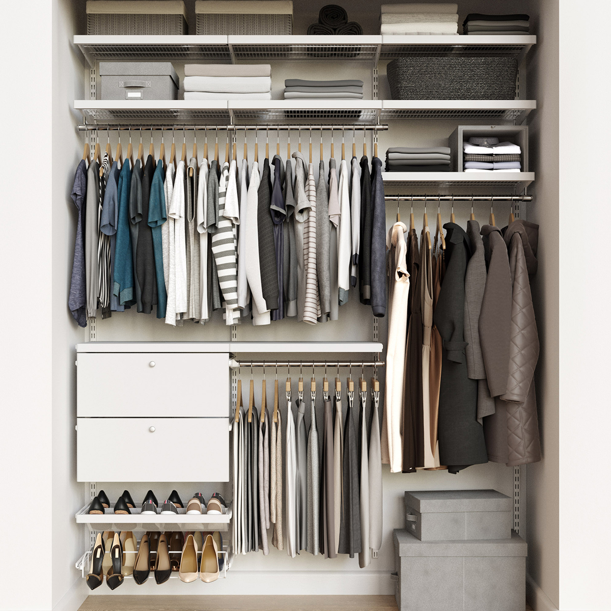 Elfa Décor 6' White Reach-In Drawer Front Closet